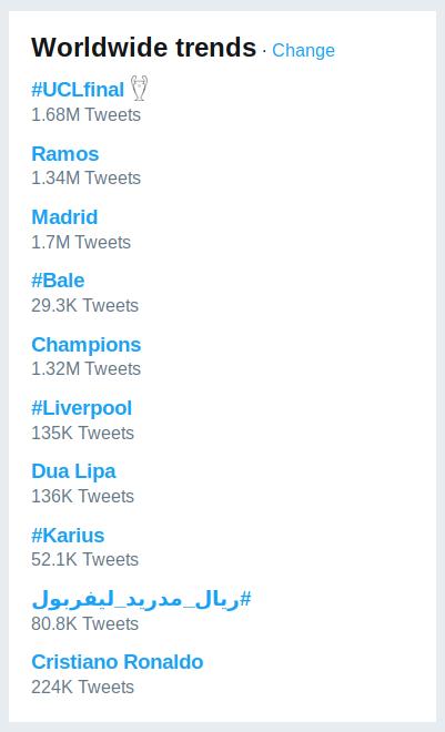 ترند های توییتر بعد از فینال رئال و لیورپول